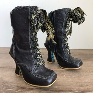 Irregular choices black lace up heeled boots 36